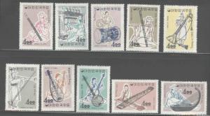 Korea Scott 417-426 MNH** 1963 Musical Instrument set post office fresh Hi CV