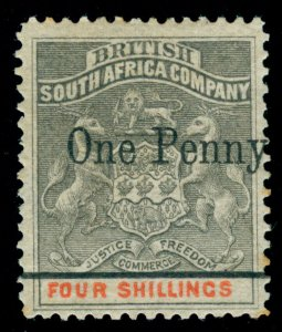 MOMEN: RHODESIA STAMPS SG #52c 1896 SINGLE BAR MINT OG H RPS CERT