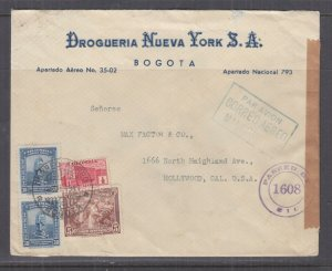 COLOMBIA, 1942 Censored Airmail cover, Bogota to USA,  1/2c., 5c., 30c.(2).