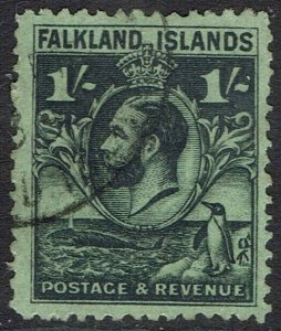 FALKLAND ISLANDS 1929 KGV WHALE AND PENGUIN 1/- USED