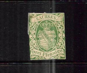 SAXONY  1851  3pf   GREEN   MNG  SIGNED    SG 4
