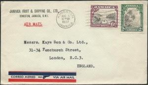 JAMAICA 1937 8d airmail rate cover Kingston to UK.........................49722