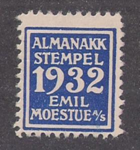 Rare Norway 1932 Almanac Stamp Revenue Emil Moestue Almanakk