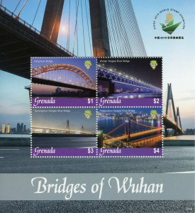 Grenada 2019 MNH Bridges of Wuhan Qingchuan Bridge 4v M/S Architecture Stamps