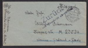 Germany, 1944 Feldpost Cover, Zurück handstamp