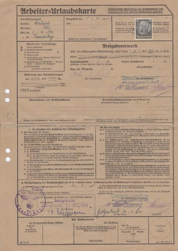 German Worker's Vacation Card W/Revenues (S12443)