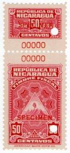 (I.B) Nicaragua Revenue : Duty Stamp 50c (ABN Specimen)
