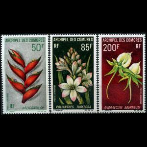 COMORO IS. 1969 - Scott# C26-8 Flowers Set of 3 NH