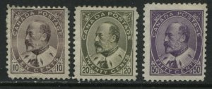 Canada 1903-08 KEVII 10, 20, and 50 cents unused no gum