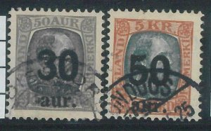 78626 - ICELAND -  STAMP  - MICHEL  #  112/113  Very FINE  USED