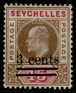 SEYCHELLES EDVII SG59, 3c on 45c brown & carmine, M MINT.