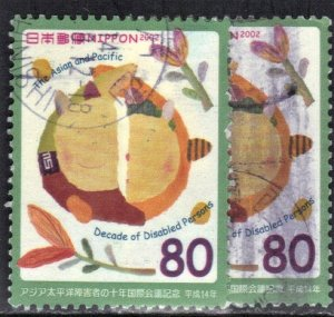 JAPAN SC# 2838 USED 80y 2002  DISABLED PERSONS SEE SCAN