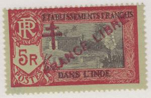FRENCH INDIA MNH Scott # 176 - stamped initials (1 Stamp) -1