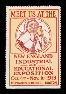 POSTER STAMP NEW ENGLAND INDUSTRIAL AND EDUCATIONAL EXPOSITION BOSTON 1913