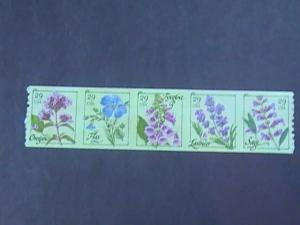 U.S.# 4513-4517-MINT/NEVER HINGED- COIL STRIP OF 5--FLOWER/HERBS --2011