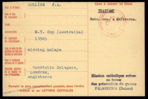 Australia 1943 UK Malaya Japanese POW THAI Camp Red Cross Cover Catholic S 89599