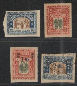 Estonia 1920 Sc# B1-B4 MH & Used VG - Early semi postals