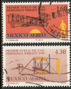 MEXICO C590-C591, 75th Anniv 1st powered flight by Wright USED F-VF. (821)
