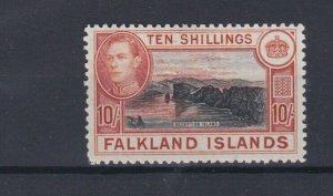 FALKLAND ISLANDS  1938 - 50 SG  162  10/-  BLACK & ORANGE BROWN MH CAT £200