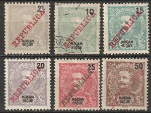 Mozambique 1911 Sc 99,101-5 partial set most MH*