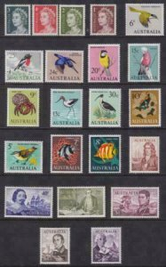 Australia 1966-1971 SC 394-417 MNH Set Birds Fish Queen