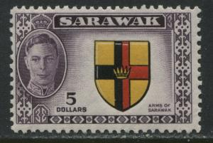 Sarawak KGVI 1950 $5 high value unmounted mint o.g.