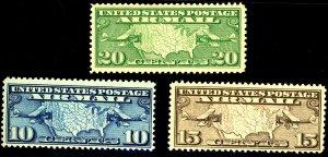 U.S #C7-9 MINT OG NH, C8 Printing paper fold