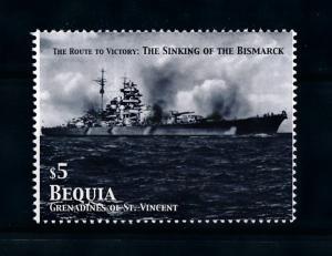 [76353] Bequia Gren. St. Vincent 2005 World War II Bismarck From Sheet MNH