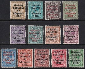 Sc# 23 / 35 Ireland 1922 King George V KGV complete overprint set MMHH CV $139
