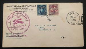 1929 Manila Philippines First Flight Airmail Cover FFC to Lopez Capt Calvo