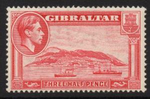 GIBRALTAR SG123a 1938 1½d CARMINE p13½ MTD MINT