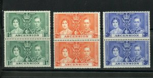 ASCENSION CORONATION OF GEORGE VI 1937 SC# 37-39 MINT NH PAIRS AS SHOWN