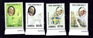 Zambia 470-73 MNH 1989 Pope John Paul II