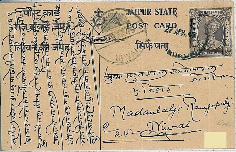 30174   INDIA - JAIPUR STATE-  POSTAL HISTORY :  POSTAL STATIONERY 1/2 ANNA 1945