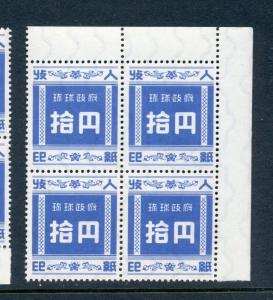 Ryukyu Islands Scott R4 Revenue Mint NH Margin Block of 4 Stamps (RY R4-4)