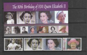 South Georgia 2006 80th Birthday QE2 Set & MS UM SG 417/MS421
