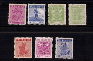 RYUKYU Scott 1A-7A  Unused  first set first printing 1948