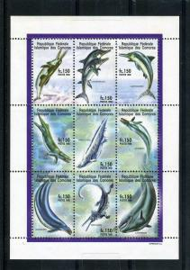 Comoro Islands 1998 Dolphins Sheet (9) Perforated mnh.