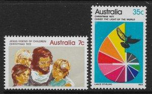 AUSTRALIA SG530/1 1972 CHRISTMAS SET MNH