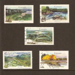 CANADIAN SET ON HERITAGE RIVERS-4 USED STAMPS  LOT#217