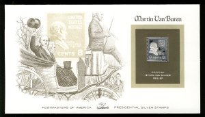 US US #811, 8c Martin van Buren,  STERLING SILVER RELIEF Cover, fresh and cle...