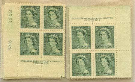 Canada USC #326 Mint Plate 3 (40 plate blocks of four each) Inc. Two MS
