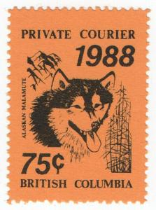 (I.B-CK) Canada Cinderella : British Columbia Private Mail 75c (Malamute)