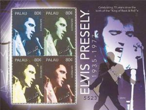 Palau - 2005 Singer Elvis Presley - 4 Stamp Sheet - Scott #829