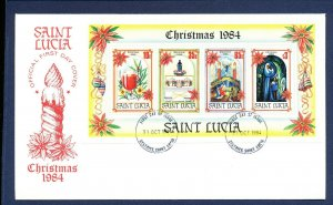 ST LUCIA    # 705c on unaddressed cacheted FDC - Christmas 1984