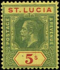 St Lucia SC# 89 KGV 5 shillings wmk 4 MH with mount