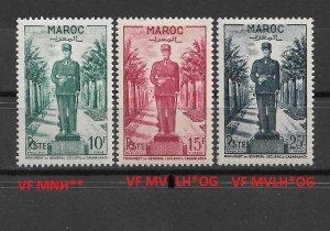 French Morocco 1951,General Leclerc,Scott # 264-66 VF-XF MVLH*OG/VF MNH** (FR-1)