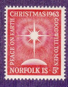 Norfolk Island # 65, Christmas 1963, Mint NH, 1/2 Cat