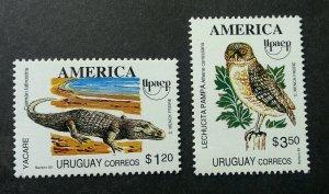 Uruguay America Issue Fauna 1993 Crocodile Owl Bird Reptiles Wildlife (stamp MNH