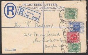 NIGERIA 1934 GV 3d registered envelope uprated used from OSHOGBO to UK.....K253